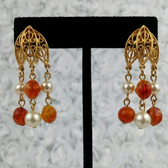 Vintage gold pearl and amber chandelier earrings poshmark m5a5ed64aa44dbe172c68b9b9 aloadofball Image collections
